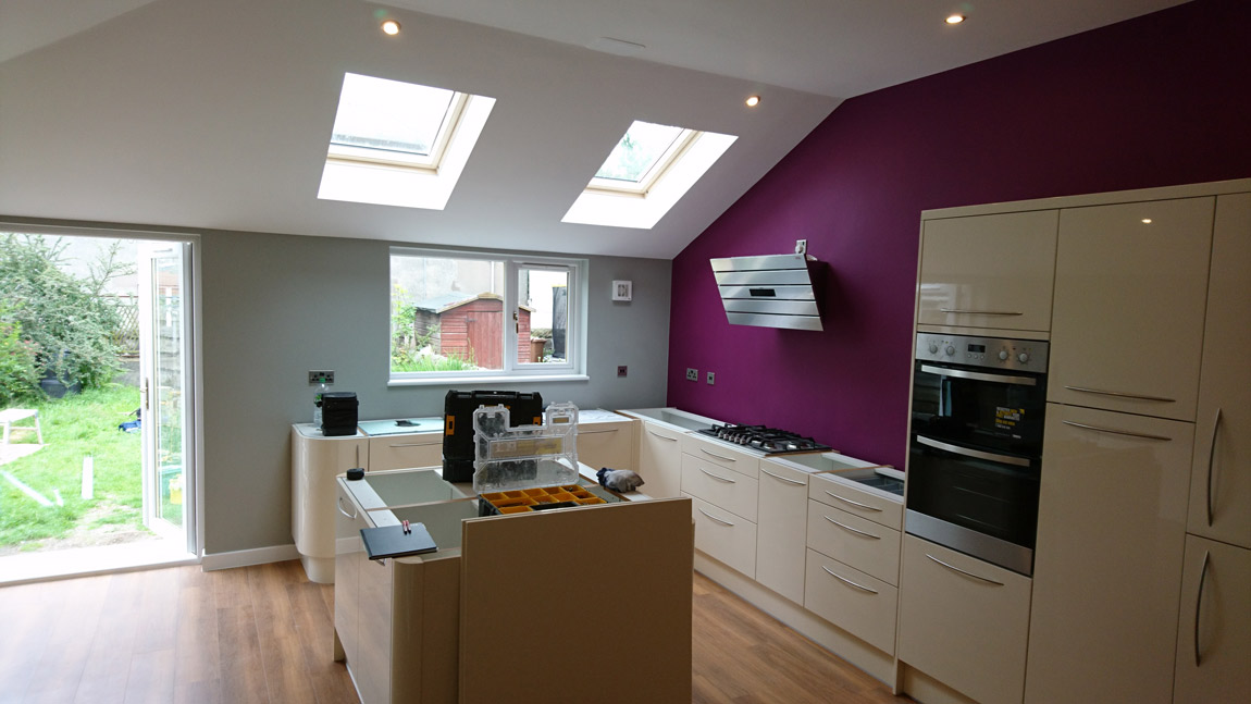 Angled Roof Beams To Create Open Plan Kitchen Extension Andrew Allan Architecture